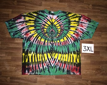 Tie Dye T-Shirt ~ Rasta Spider Spiral i1061 in 3XL