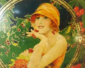"French Vintage Tin...Art Deco...Advertising Tin...Biscuit Tin....Chocolate Tin...9"" x 8"" x 2.3/4"""