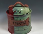 Dog Treat Jar - Pet Treat Jar - Ready to Ship - Brick Red & Jade Green - Dog Bone Accent- ceramics - pottery - stoneware - pets - feeding
