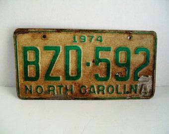 Vintage License Plate 1974 North Carolina BZD-592