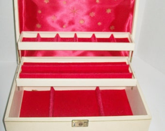 Vintage Jewelry Box Ivory 3 Tier Box Red Interior Key Included