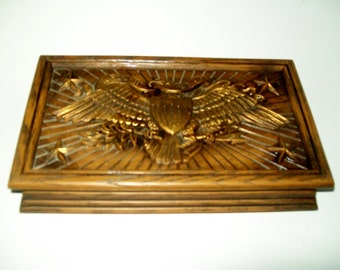 Vintage Avon Men's Jewelry Box Americana Eagle Faux Wood E Pluribus Unum Hinged Box