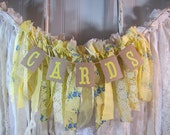 Tattered Fabric Lace Garland Yellow Cards Banner Shabby Chic Vintage Barn Wedding Romantic Prairie