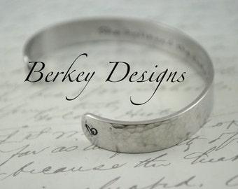 She Believed She Could So She Did Secret Message Hand Stamped Bracelet- Personalized Bracelet