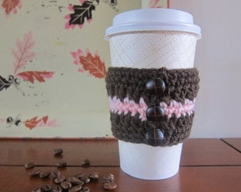 Brown Cup Cozy Crocheted with Buttons, Pink Stripe Cup Cozy, Crochet Coffee Cozy, Cozies with Buttons, To Go Coffee Sleeve, Sleeve for Cup