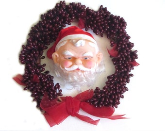 Vinyl Santa Head Red Cloth Hat Curly Nylon Hair Holiday Doll Parts NOS Christmas Home Decor