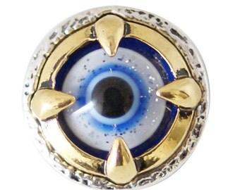 1 PC 18MM Blue Eye Dragon Gold Candy Snap Charm kb6841 CC1721