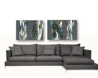 Oversized Artwork Diptych Extra LARGE wall art set dining room wall decor gray brown Print canvas Tree trunk Landscape living room bedroom