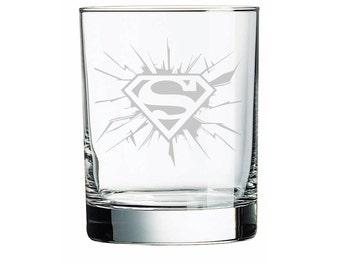 Superman Sandblasted Rock Glass