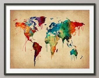 Watercolor Map of the World Map, Art Print (2463)
