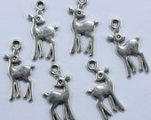 Deer Charm, Bulk 50  Charms Antique Silver Double Sided 22 x 10 mm Ships From The United States - ts987