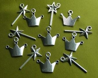 Princess Charm Set 5 Crowns 5 Magic Wands Antique Silver - ts959