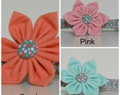 Mint Green Pink or Coral Polka Dot Flower Dog Collar Wedding Accessories Made to Order