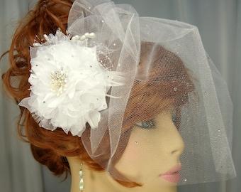 Bridal Fascinator Veil Set, Birdcage Veil, Detachable Headpiece, Veil Fascinator Set, REX14-116