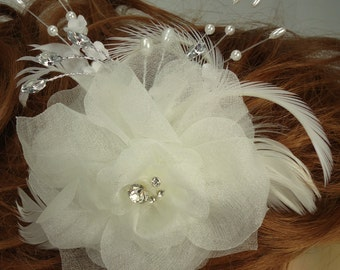 Bridal Headpiece,Ivory Rose, Floral Hair Clip, Bridal Accessory