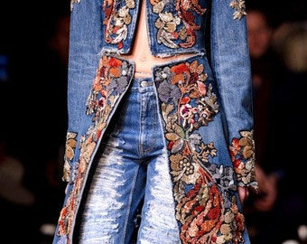 CUSTOM MADE Alexander McQueen inspired embellished long denim coat
