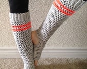 Handcrafted Extra Long Yoga Socks - Slouchy Leg Warmers - Gray with Neon Orange Stripes - Acrylic Blend Yarn - Crocheted - Ticklebebe Origin