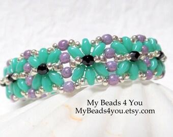 SuperDuo Beaded Bracelet, Beadwork Bracelet,Seed Bead Bracelet, Beadwoven Bracelet, Embellished Bracelet,Turquoise Bracelet, My Beads 4 You