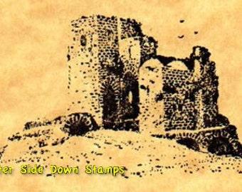 Castle Ruins Medieval Rubber Stamp