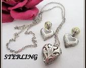 Sterling Heart Necklace Set Open Work Heart Pendant Earrings