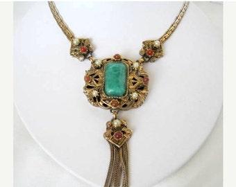 Peking Glass Necklace - LongTassel Style -  Victorian Revival
