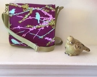 Purple and Green Birds and Branches Messenger bag/crossbodybag/purse/handbag