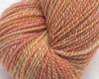 Handspun Yarn, Bluefaced Leicester wool, 310y DK Weight in Burnt Orange