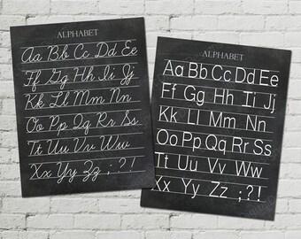 Vintage Alphabet Classroom Poster Digital Chalkboard Word Art 16x20 - Cursive and Print - INSTANT DOWNLOAD