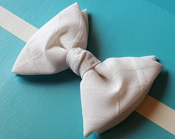 70s Bow Tie / Fat Tie / Prom / Vintage Wedding / White / Royal Rust Resistant