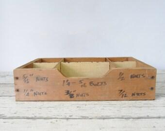 Vintage Divided Wood Box Storage Bolts Storage Box Vendors Display