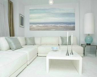 "Art, Large Painting, Original Abstract, Acrylic Paintings on Canvas by Ora Birenbaum Titled: Gray Mist 8 24x48x1.5"""