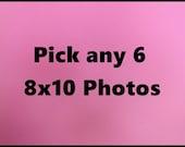 6 - 8x10 photos, pick any 6 8x10 photos, 8x10 photos, photography, discount photography