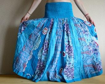 Long skirt - Gypsy Skirt - Patchwork Maxi Skirt - Peasant Skirt by Chandrika Shop - Bright blue multicolored skirt
