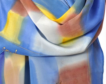 Hand painted silk scarf/Abstract painting scarf/Luxury silk/Long woman shawl/Blue yellow silk scarf/Accessory/Gift for woman/Accessory/S0209
