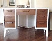 White Retro Mid Century Modern Writing Desk  RESERVED for Kate