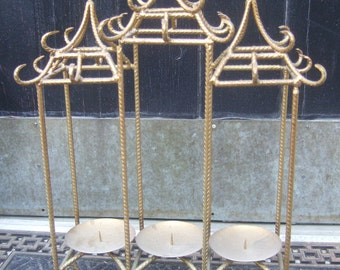 Asian Theme Hollywood Regency Style Gilt Metal Candle Holder