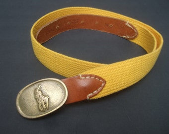 Ralph Lauren Brass Polo Pony Yellow Cloth Belt