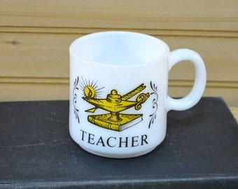 Vintage Milk Glass Teacher Mug Lamp of Knowledge Collectible Gift