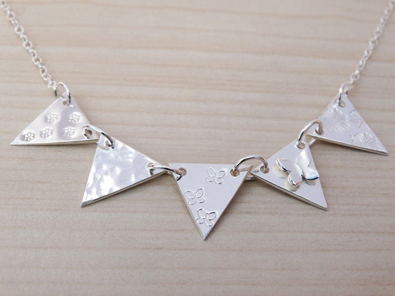 Silver Bunting Necklace - Butterfly - 5 Flags - Sterling Silver