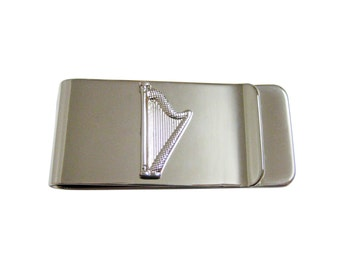 Silver Toned Harp Money Clip