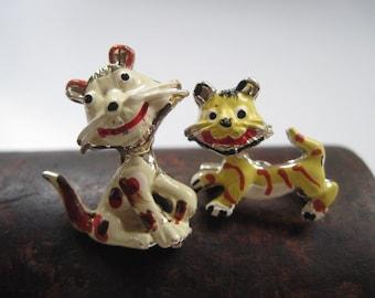 Vintage Enamel Tiger Brooches