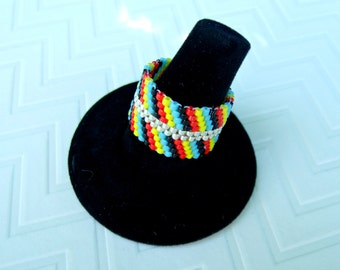 Stripes:peyote beaded ring,multicolor delica seed bead ring