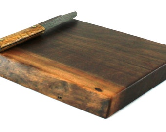 "Thick Natural Edge Chopping Board - Black Walnut - Ready to Ship - 12""x9""x1-1/4"""