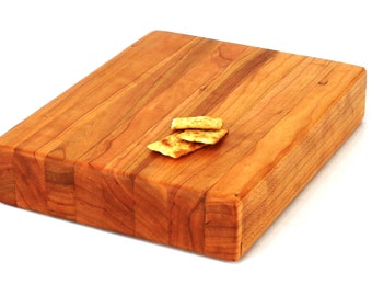 "Butcher Block Cutting Board - Edge Grain -Thick Chopping Board - Wild Cherry Hardwood - 10""x8""x2"" - Ready to ship"