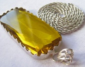 "Amazing Sterling Silver & Citrine Glass Pendant on Vintage Sterling Silver 30"" Rope Chain. Huge Pendant is 3-3/8"" x 1-3/8""."