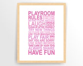 Printable Pink Girl Nursery print Playroom rules PRINTABLE INSTANT DOWNLOAD ( tipo0113 )