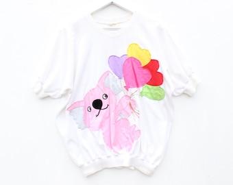 80s NOVELTY AUSTRALIANA Koala + Balloon Jenny Kee Style Bubble Tee T Shirt Sleeve Crop Top