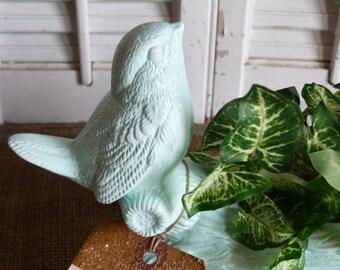 Minty Green Blue Distressed Bird Decor Shelf Sitter Mantel Decor Cottage Chic Spring Bird Apartment Decoration