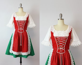vintage dirndl dress / 1970s Austrian dirndl dress set / holiday folk dress / Oktoberfest dress / dirndl dress apron top / deadstock dirndl