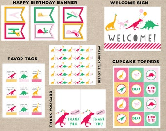 girl dinosaur party printable pack,  girl dinosaur favor tags,  girl dinosaur banner, girl dinosaur thank you card, dinosaur cupcake topper